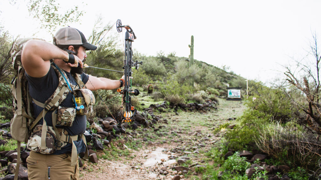 Josh from Dialed in Hunter shooting his bow in Arizona
