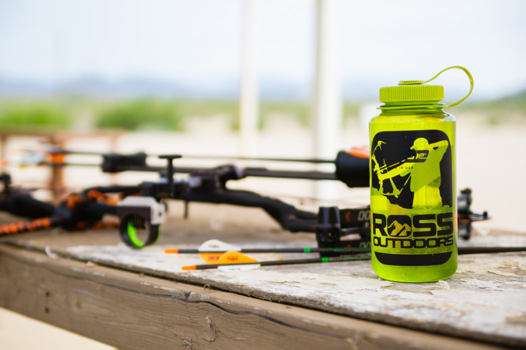 Ross outdoors nalgene bottle at the archery range in Arizona