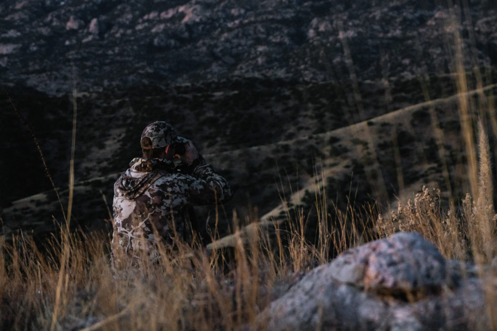 Brad Brooks from Argali Outdoors glassing for coues deer in Arizona