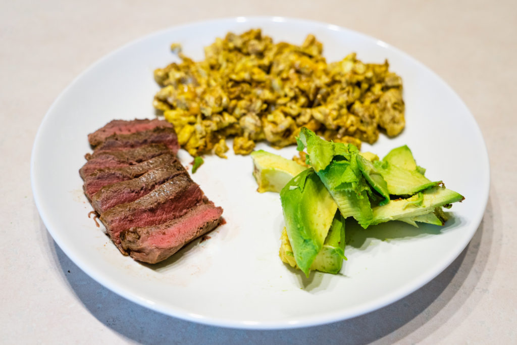 Wild Game Venison Backstrap with eggs and avocado
