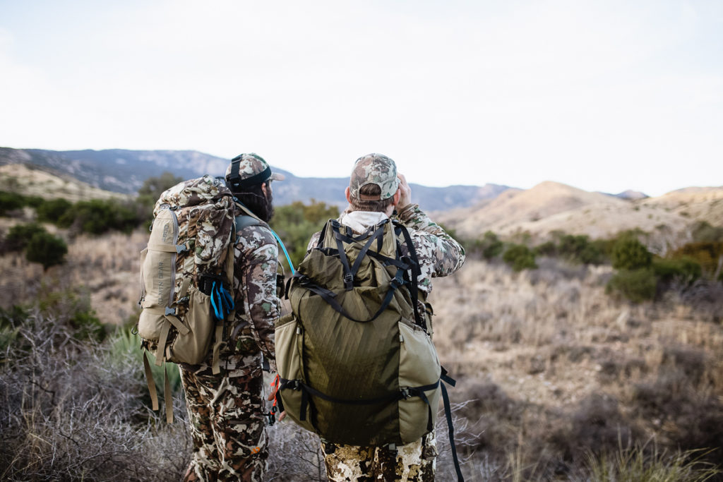Josh Kirchner and Brad Brooks on the blood trail of a coues deer in Arizona