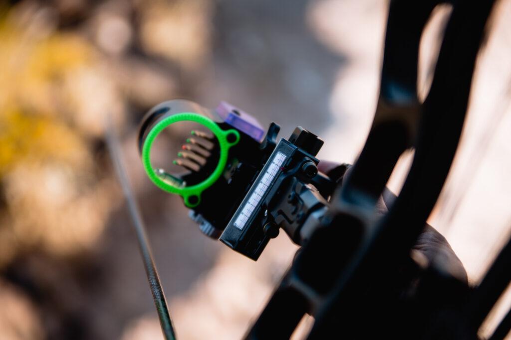 Black Gold slider bow sight being adjusted